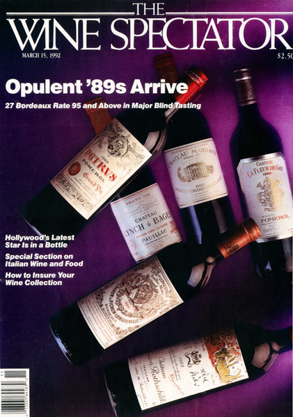 Front page of Wine spectator of 15th march 1992 « Opulent '89s arrive » (Château La Fleur de Gay, Pétrus, Châteaux Margaux, Mouton Rothschild, Lynch Bages, Pichon-Longueville)