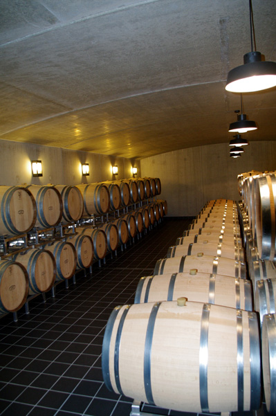 Barrel cellar of chateau La Fleur de Gay